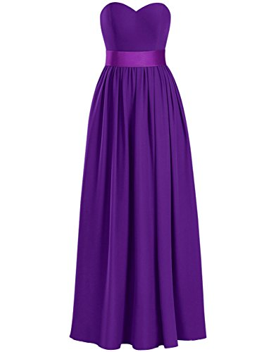 (Cdress Chiffon Bridesmaid Dresses Long Evening Formal Gowns Prom Party Dress Bowknot Sashes Sleeveless US 26W Purple)