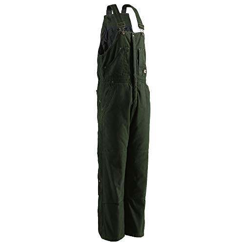 Insulated Taffeta Bib - Berne Men's Bark Original Washed Insulated Bib Overalls Tall Moss XX-Large Tall