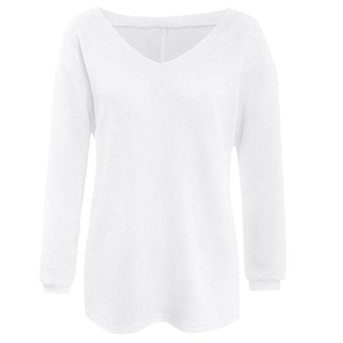 Maille Blanc Yogogo Longues Jumper Manches Lache Tops Pull en Pull Tricots Femme AqPTf0