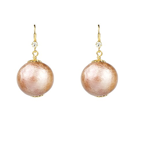John Wind Cotton Pearl Earrings With Lever Backs, 20mm (Blush Pink) - Pearl Euro Wire Earrings