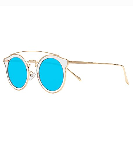 Round Sunglasses Gold and Crystal Frame with Blue Mirror Lens