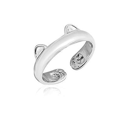 Anillo de oreja de gato dorado/plateado/oro rosa joyería ajustable anillo de gato para mujer niña niño: Amazon.es: Joyería