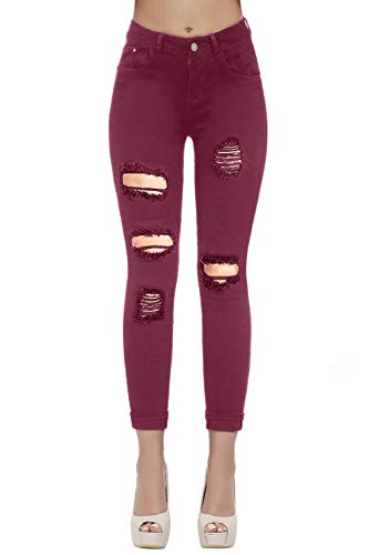 Women's Casual Ripped Holes Skinny Jeans Jeggings Straight Fit Denim Pants (US 12, Red 15) (Color Ripped Skinny Jeans)