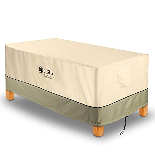 """COSFLY Patio Coffee Table Cover Durable Windproof and Water Resistant Fabric for Premium Outdoor Rectangular (48"""" L x 25"""" W x 18"""" H) Furniture"""