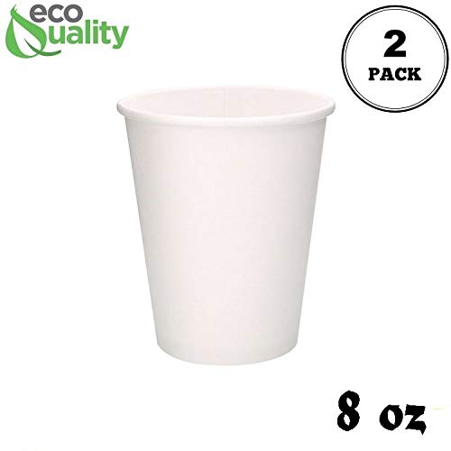 - 2 Pack of 100 ct - White Hot Drink Paper Cups 8 oz by EcoQuality - Disposable Coffee Cups, Recyclable, Compostable, Great for Office, Break rooms, Restaurants, Coffee Shops, Tea Shops, Latte, Chai