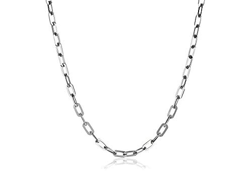 Verona Jewelers 925 Sterling Silver 3MM Mariner Anchor Link Chain Necklace- Square Link Cable Link Necklace Chain, Twist Link Necklace 18-30 (24) ()