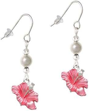 Enamel Hibiscus Flower Imitation Pearl French Earrings