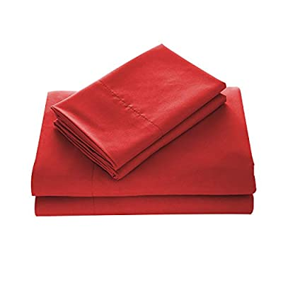 "WAVVA Bedding Luxury 3-Pcs Bed Sheets Set- 1800 Deep Pocket, Wrinkle & Fade Resistant (Twin, Ribbon Red) - Double brushed microfiber for ultra soft hand feel; Wrinkle resistant. Deep pocket fitted sheet with elastic all around (not just the corners), fits mattresses up to 14"" Sheets set include 1 flat sheet, 1 fitted sheet and 2 pillowcases (Twin size only has 1 pillowcase). - sheet-sets, bedroom-sheets-comforters, bedroom - 31ZfJWLDBWL. SS400  -"