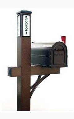 Extruded Aluminum Mailbox Post - Solar Illuminated Single Post Mailbox Kit (Bronze) - Be able to Easily Direct Emergency Personnel, Family, and Friends to Your Home.