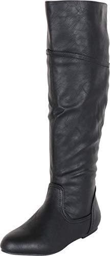 Cambridge Select Women's Back Corset Lace Flat Knee-High Boot,6.5 B(M) US,Black PU
