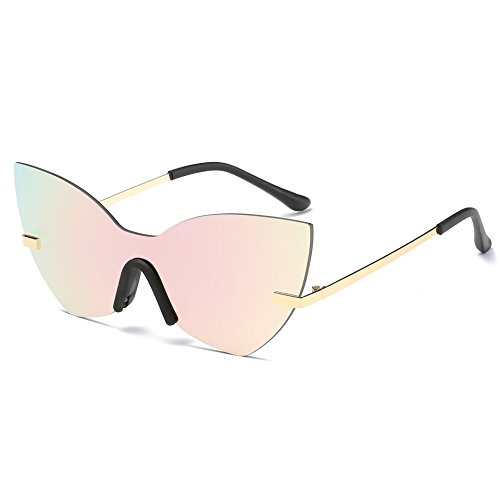 AOME One Piece Mirrored sunglasses, Butterfly Designer Cat Eye Sunglasses (Gold&Pink, 2.0)