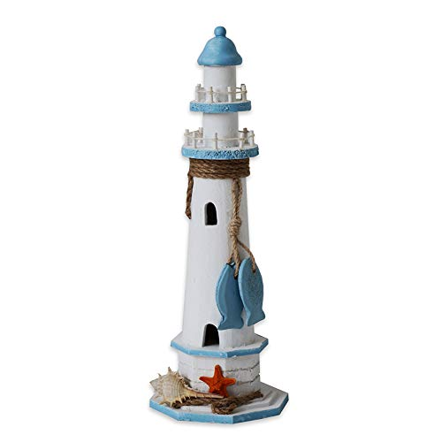 "Cheap Wooden Lighthouse Decor, 14.5""H Nautical Themed Rooms Lighthouse Home Decor with Conch Star Fish & Small Fish"