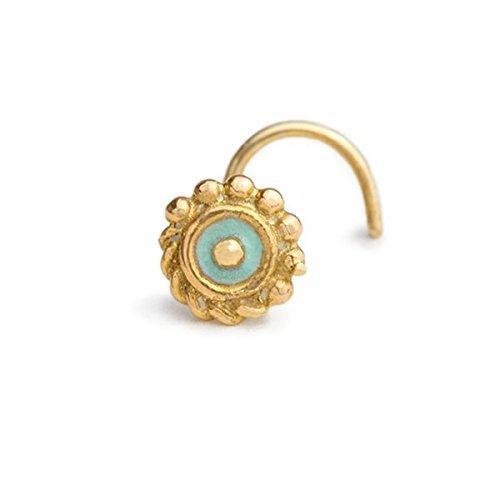 Tribal Tragus Earring Stud: Gold 14k Enameled Ear Piercing Jewelry in 16 Gauge by Studio Meme by Studio Meme