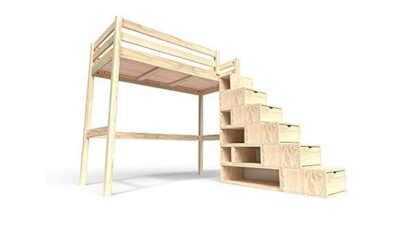 ABC MEUBLES - Cama Alta Sylvia con Escalera Cubo - Cube - Bruto, 90x200: Amazon.es: Hogar