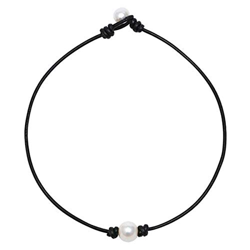 - WAINIS Single White Pearl Choker Necklace with Three Beads Freshwater Pearls Choker Necklace on Genuine Leather Cord Knotted Collarbone Chain Jewelry for Women Girls