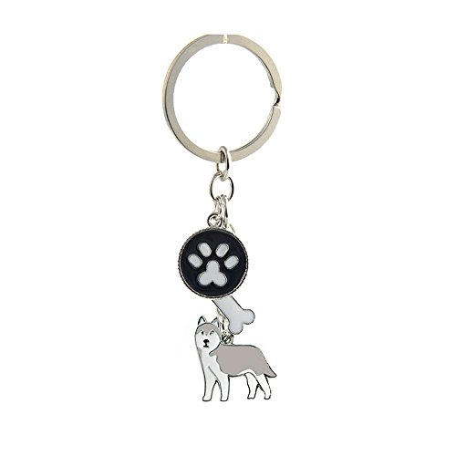 Key-ring Keychain,Cute Metal Small Dog Puppy Keychain Keyring Keyfob Car Bag Charm Dog Tag Chains Birthday Christmas Gift (Gray Husky)