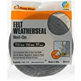 Frost King S214/17H Felt Weather-Strip 1-1/4-Inch by 3/16-Inch by 17-Feet, Grey
