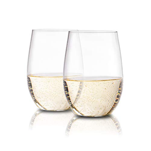 Plastic Stemless Wine Glasses by En Soiree - Set of 4 Clear, Flexible, Disposable, Reusable, Unbreakable, and Shatterproof 16oz Glass - Use for Summer, the Beach, Outdoor Camping, and Pool Parties