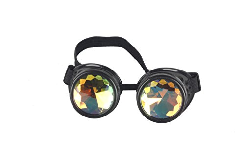 Sexy_Forever FLORATA Chrome Kaleidoscope Vintage Rave Glasses with Rainbow Crystal Glass Lens for Halloween Cosplay Goggles -