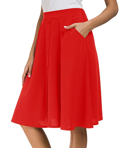 (Afibi Women's High Waisted A Line Pleated Midi Skirt Button Front Skirts with Pocket (Medium, Red))