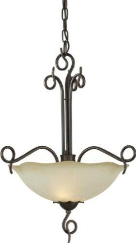 Forte Lighting 2463-02-32 2-Light Transitional Pendant, Antique Bronze Finish with Shaded Umber Glass (Umber Light Kitchen Island)