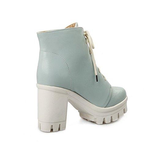 1TO9 Girls Bandage Chunky Heels Platform Soft Material Boots Blue 8GaQaZqBBA