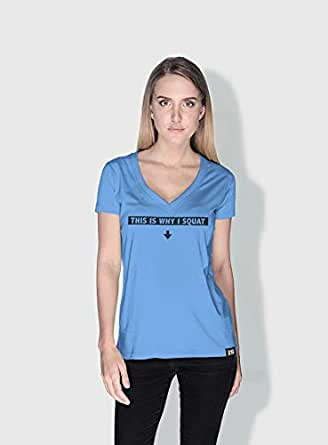 Creo This Is Why I Squat Funny T-Shirts For Women - L, Blue