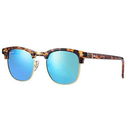 Pro Acme PA3016 Classic Crystal Lens Clubmaster Sunglasses (Havana/Green Mirrored - Clubmaster Havana Green