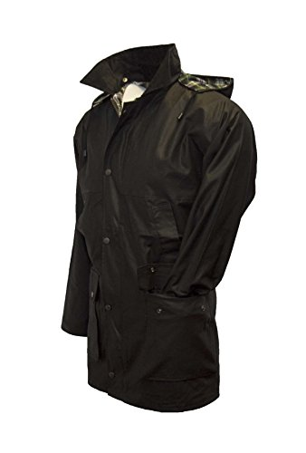 Walker & Hawkes - Mens Unpadded Wax Jacket Countrywear Hunting Waxed Coat - Black - XX-Large