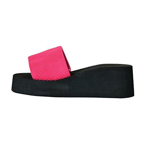Rojo Sandalias Zapatillas Mujeres Mujer Chanclas Verano de plataforma Malloom Zapatos qxRS7Zaw
