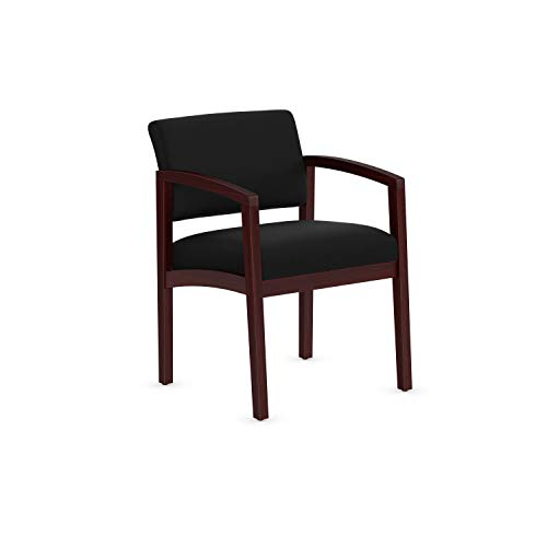 OfficeSource Dover Designer Office Guest Arm Chair, Mahogany Finish, Black Upholstered, Sold Wood Frame, Reception, Waiting Rooms (1700MHBLK)