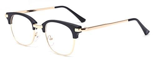 ALWAYSUV Retro Metal Semi-Rimless PC Clear Lens Unisex Glasses Eyewear