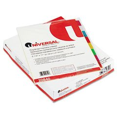 - Universal 20840 Economical Insertable Index, Multicolor Tabs, 8-Tab, Letter, Buff, 24 Sets/Box
