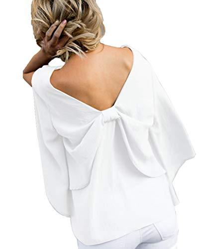 Scollo Tops Shirt Schienale Bianca Senza Maglietta Manica Cravatta Cime a Autunno e Farfalla Onlyoustyle Donne Lunga Camicie Moda Bluse V Maglie a Primavera Spaccato TOFzqw
