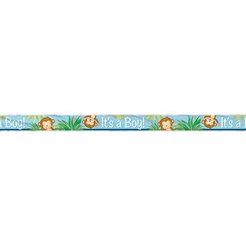 12ft Foil Boy Monkey Baby Shower Banner ()