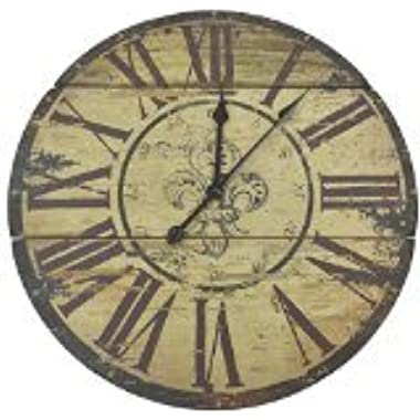 Lulu Decor, Fleur De Lis Wood Wall Clock, Diameter 23.50 , Perfect for Housewarming Gift.