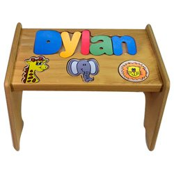 Puzzle Stool Primary (Personalized Jungle Wooden Puzzle Stool- Stool Color: Natural, Letter Color: Primary, 1-8 Letters)