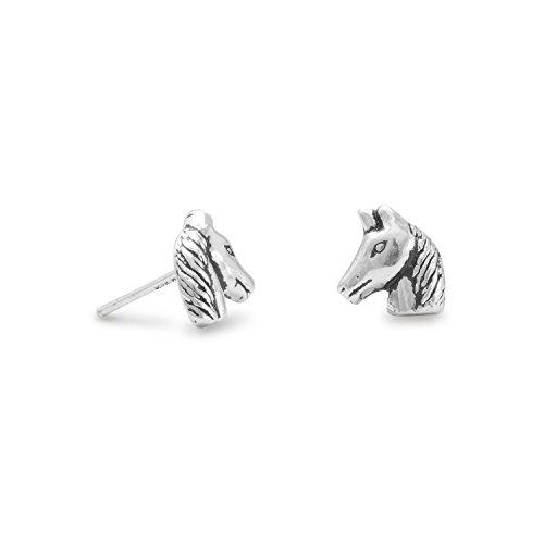 Small Oxidized Horse Head Stud Earrings 8mm Oxidized Sterling Silver Horse Head Earrings