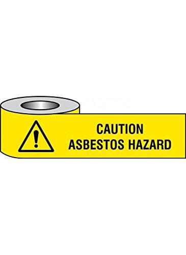 75 mm x 250 m Caledonia Signs 58607 Caution Asbestos Hazard Barrier Tape