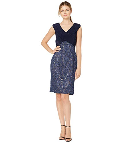 Alex Evenings Women's Shift Midi Lace Embroidered Dress (Petite and Regular), Navy/Nude, 10