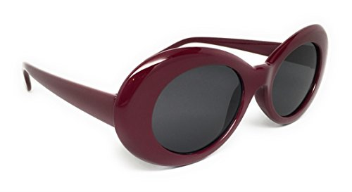 WebDeals - Oval Round Retro Sunglasses Color Tint or Smoke Lenses Clout Goggles … (Burgundy, Smoke) ()