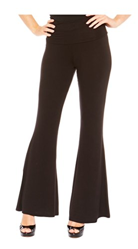 Red Hanger Women's High Waist Palazzo Bell Bottom Pants Regular and Plus Sizes, Black-S