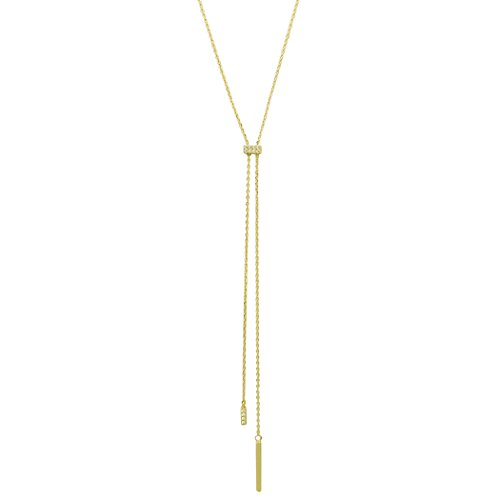 Rosemarie Collections Womens Cubic Zirconia Vertical Bar Long Y Necklace  Gold Color