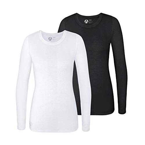 Adar Underscrub Tee 2 Pack for Women - Long Sleeve Fitted Underscrubs - A53002 - Black/White - 2X