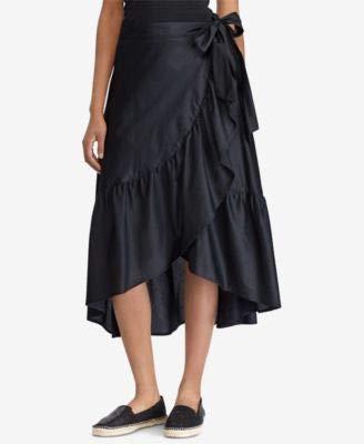 Ralph Lauren Lauren Womens Ruffled Cotton Wrap Skirt Black 10