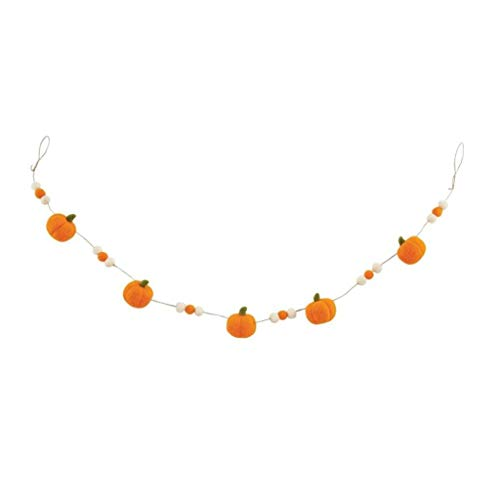 Mud Pie Thanksgiving Felt Pumpkin Garland, 60-inch Long (Orange)