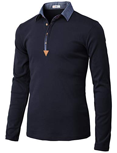 H2H Mens Casual Slim Fit Long Sleeve Polo T-Shirts of Various Styles Navy US M/Asia L ()