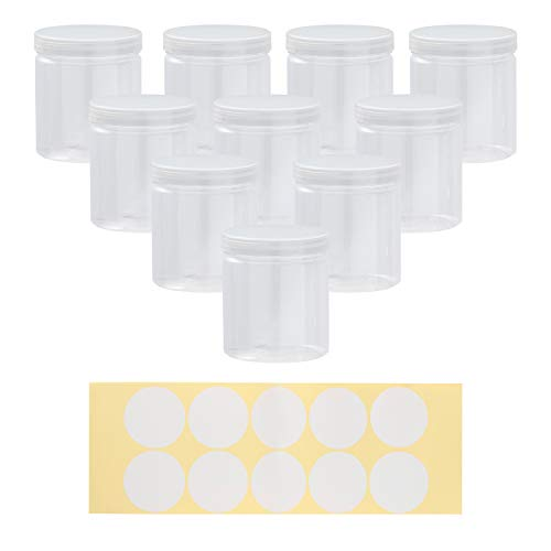 (Plastic Storage Jars - 10-Pack Slime Jars with Screw-on Lids and 10 Labels, Refillable Round Container Organizer for Craft, Part, Cosmetic, Body Scrub, Accessory, Food, 8 OZ, 2.75 x 2.75)