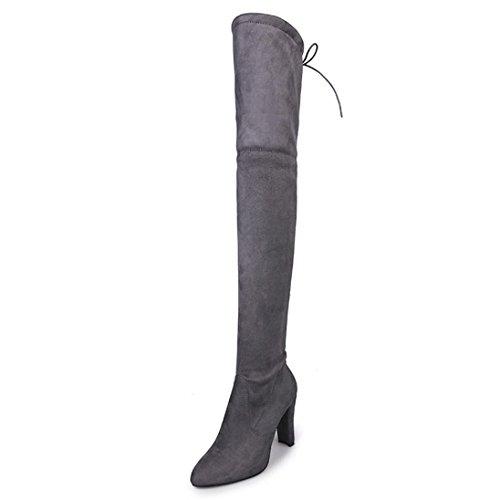 Boots Nuovo Grigio Stivali Invernali Cavaliere Sopra Stivali Ginocchio Tacchi Donna Alti Stivaletto Inverno Autunno BeautyTop qnUxHwag4