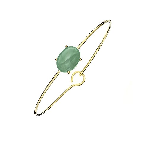 14K Gold Plated Bangle Bracelet with Semi-Precious Natural Stone, 7 Stone Color Options